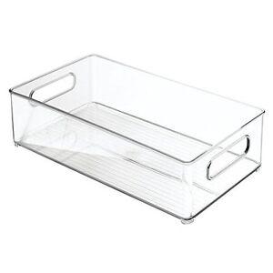 """InterDesign Refrigerator&FreezerStorageOrganizerBinsfor Kitchen,8""""x4""""x14.5""""Clear"""