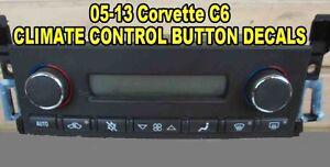 Details about 05 06 07 08 09 10 11 12 13 C6 CORVETTE CLIMATE CONTROL BUTTON  DECAL STICKER