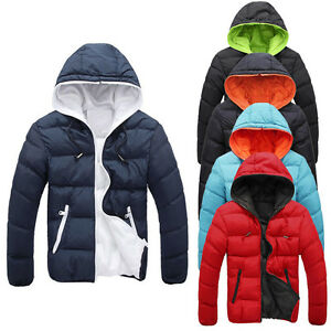 ea38de48d Details about New Men's Slim Casual Warm Jacket Hooded Winter Thick Coat  Parka Overcoat Hoodie