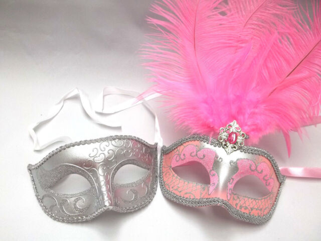 Silver Pink Couples Man Woman Prom Masquerade Mardi Gras Masks Male Female Set