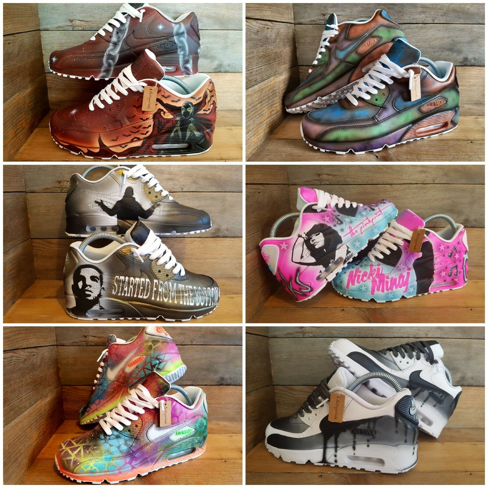 Nike Nike Nike Air Max 90/Custom Painted/Rose/Bleu/blanc/noir/Girls/Femme/Mens/Trainers 2d126b
