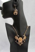 Women Trendy Fashion Necklace Gold Chain Flies Bug Blue Black Bead + Earring