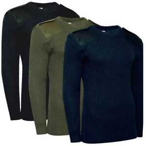 f956215f6 British Army Style Commando Jumper Crew Neck Sweater Pullover - Navy ...