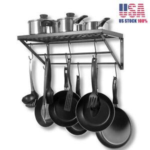 Iron-Hanging-Pot-Holder-Pan-Hanger-Kitchen-Storage-Utility-Cookware-Hook-Rack-US