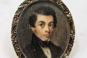 Antique-GEORGIAN-Portrait-peint-main-Broche-en-OR-16K
