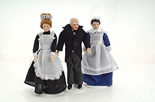 Casa de muñecas en miniatura 1:12th escala sirvientes Set (3 personas)