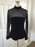 Jr Nites By Caliendo M Sheer Black Mesh Yoke/sleeves Beaded Velvet