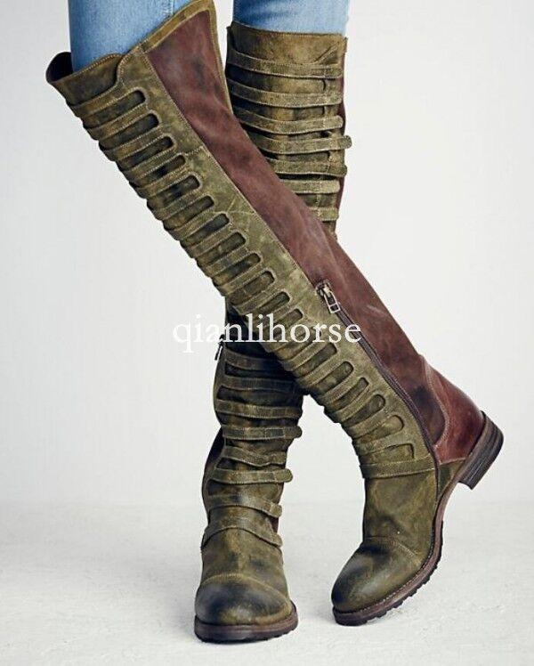mujer over the knee knee knee botas Genuine leather retro buckle punk motorcycle zapatos SZ  la red entera más baja