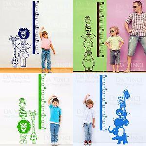 Safari Animal Kids Height Chart Removable Wall Decal