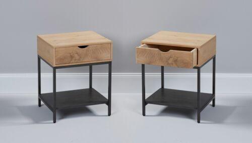 LC Home 2x Beistelltisch Nachttisch mit Schublade Eiche Metall