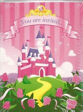 Party Invitation 8 Count Note Card Invite WITH Thank You's Princess Castle Pink