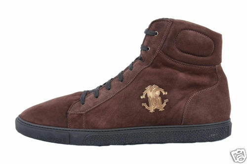 NEW ROBERTO CAVALLI BROWN SUEDE FUR LINED SHEARLING HIGH TOP SNEAKERS 44.5 -11.5