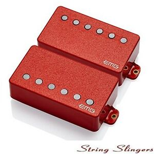 EMG-57-amp-EMG-66-pair-of-Active-Humbuckers-Red-Plastic-Solderless