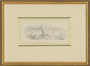 Framed Late 19th Century Graphite Drawing - The Rowing Boats