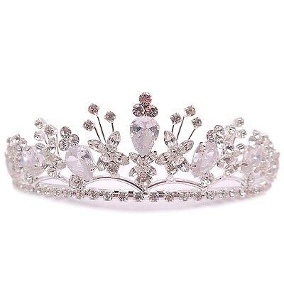 Bellissimo Sposa Matrimonio Tiara Argento Pt Trasparente Rosa Brillante Cristallo Fatto Il Consumo Regolare Di Tè Migliora La Salute