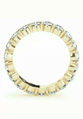 14K Yellow Gold Over 2.50 Ct Round Cut Diamond Full Eternity Wedding Band Ring