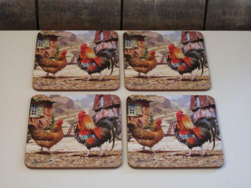 4er Set Kork Untersetzer Hahn Huhn Cockerel /& Hen The Leonardo Collection