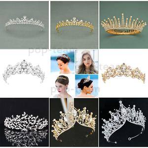 Bridal-Princess-Party-Crystal-Tiara-Wedding-Crown-Veil-Hair-Accessory-Headband