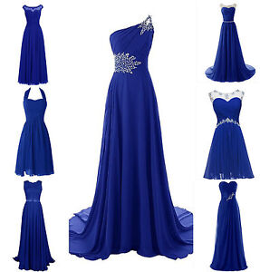 Royal Blue Bridesmaid Dress | New Royal Blue Plus Size Chiffon Wedding Bridesmaid Dress Evening