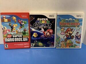 Mario-Wii-Games-Lot-Of-3-All-Working-Paper-Mario-Galaxy-Super-Mario