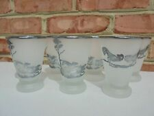 7 Vintage Sterling Silver Overlay Fox Hunt Fighting Cock Cocktail Tumblers 3 3/8