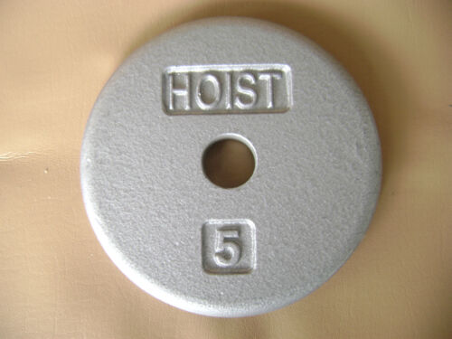 FIVE POUND FLAT PANCAKE SILVER HOIST DUMBBELL WEIGHTS LOT OF 4//20LBS IN EXC COND