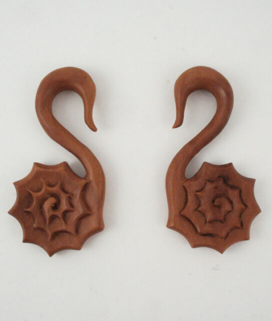 Pair Sono Wood Nautilus Shell Spiral Ear Plugs Hangers Hand Made Carved NEW