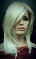 Long Platinum Blonde Wig White Blonde Tips Side Swept Bangs