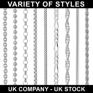 925-STERLING-SILVER-CHAIN-NECKLACE-CURB-ROPE-VARIOUS-LENGTHS