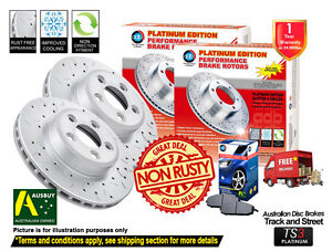 2-FRONT-DISC-BRAKE-ROTORS-DRILLED-SLOTTED-FORD-FALCON-AU-II-AU-III-w-PADS