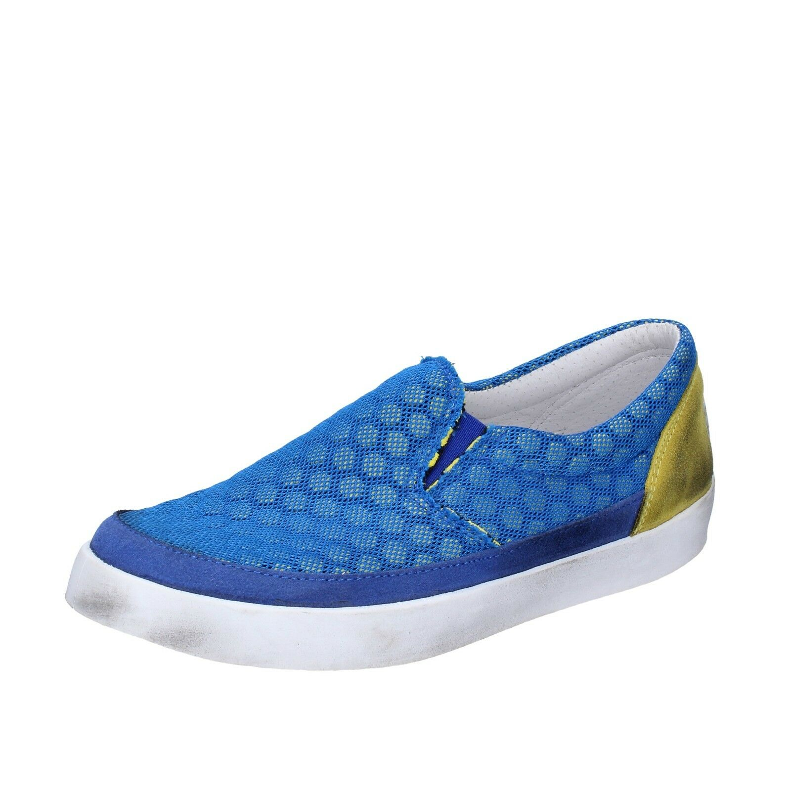 Womens shoes 2 Star 37 EU Slip On bluee Yellow Suede Leather bt802-37