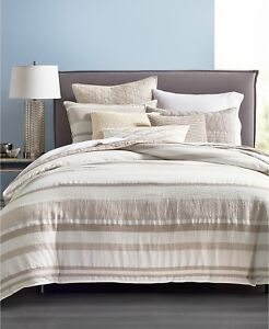 Hotel-Collection-FULL-QUEEN-Duvet-Cover-Honeycomb-Stripe-Linen-OATMEAL-L97137