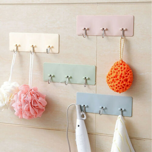 Kitchen Holder Traceless Hooks Storage Hanger Seamless Adhesive Hook Wall Rack