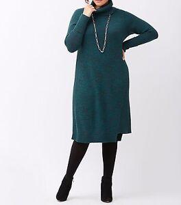 New-Lane-Bryant-90-Marled-Cowl-Neck-Sweater-Dress-Teal-Black-Plus-22-24-3X