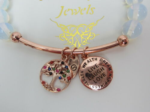 RAINBOW MOONSTONE BRACELET Live Laugh Love STERLINA MILANO MESSAGE//SENTIMENTS