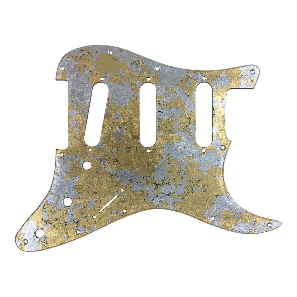 PICKGUARD Mercury metallic leaf texture metal Stratocaster type