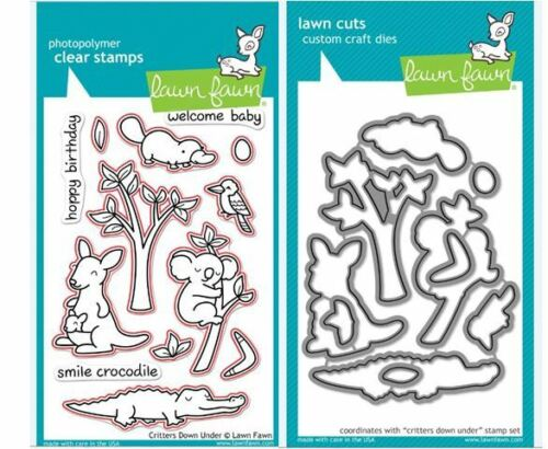 Lawn Fawn Photopolymer Clear Stamps-13ct.+DIES~ CRITTERS DOWN UNDER ~LF391,LF684