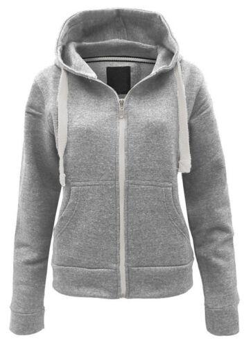 Womens Fleece PLAIN ZIP HOODIE Plus Size Zipper Sweatshirt Jacket Small-8XL 8-30