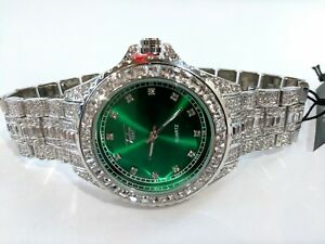 Fully Ice Watch Bling Rapper Lab Simulate Diamond Silver Green Metal Band Luxury