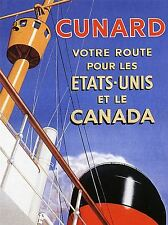 TRAVEL TRANSPORT OCEAN LINER SHIP BOAT SAIL SERVICE EUROPE CANADA POSTER LV4407