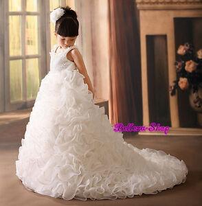 Satin Organza Tiered Dress w/ Train Wedding Flower Girl Pageant ...