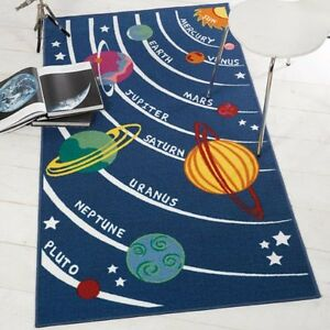 Funky-Blue-Universe-Space-ship-rugs-80x120cm-100x190cm-Anti-Slip-backing