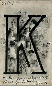 K-Pretty-women-Published-by-H-G-Z-British-1907-Vintage-Postcard-AA-004