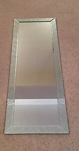 Glitter Silver Sparkle Striped Free Standing Tall Mirror