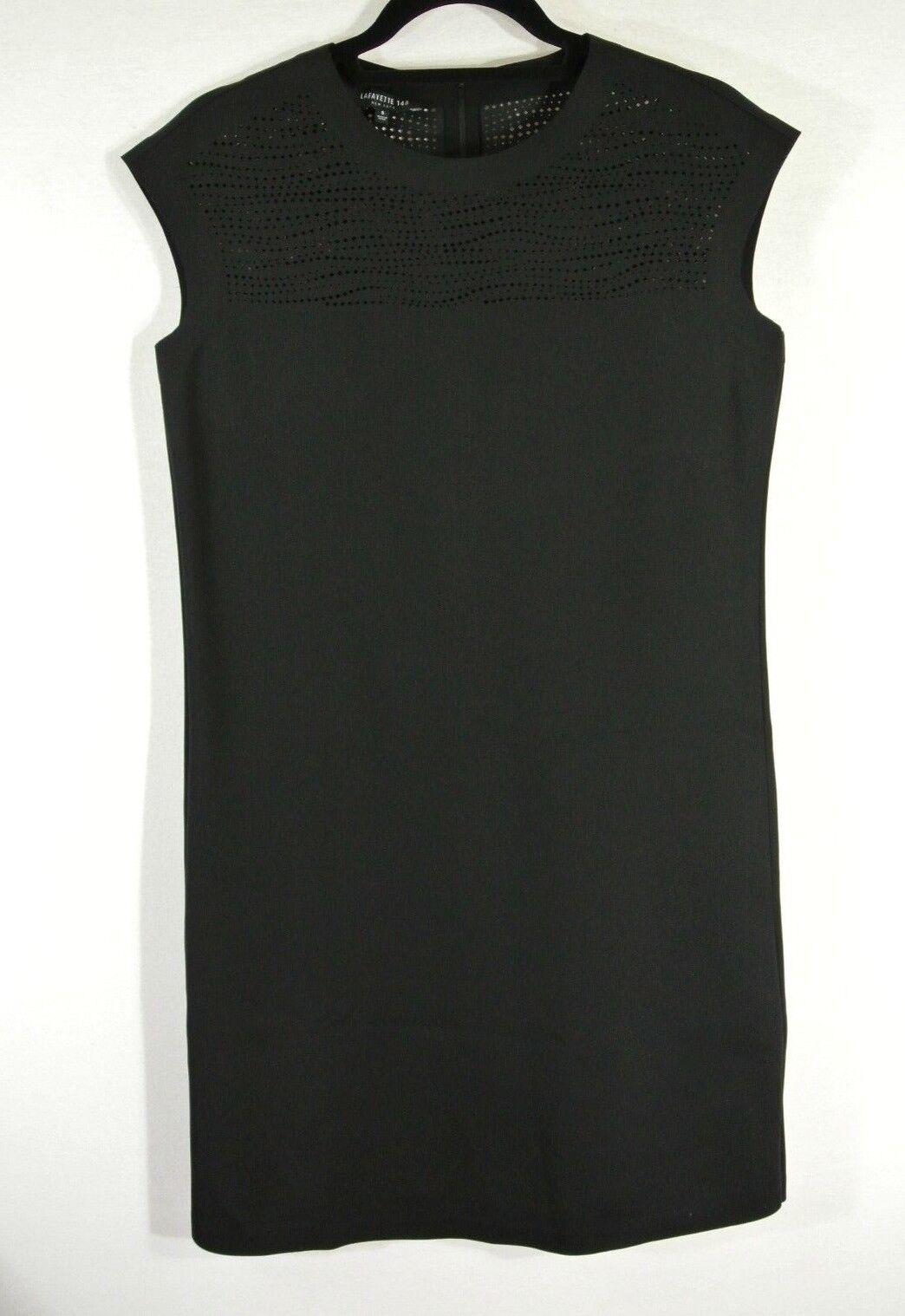 NEW Lafayette 148 schwarz Cap-sleeve Talon Sheath Dress- Größe S