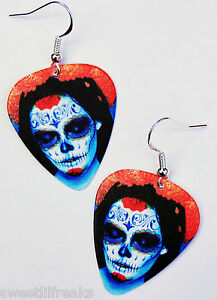 DAY-OF-THE-DEAD-SUGAR-SKULL-GUITAR-PICK-EARRINGS-ROCKABILLY-PIN-UP-GOTH-MEXICO