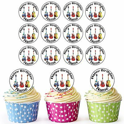 24 icing cupcake cake toppers edible Small Guitars