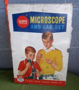 GILBERT-incomplete-Microscope-amp-Lab-Set-in-metal-case-w-booklets-1960s