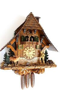 XL-cuckoo-clock-black-forest-8-day-original-german-hunter-wood-music-hettich-new