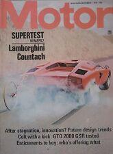 Motor magazine 1/11/1975 featuring Lamborghini Countach road test, Colt Galant